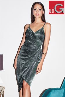 Wal G Wrap Glitter Drape Dress