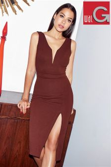 Wal G Plunge Bodycon Midi Dress