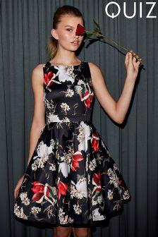 Quiz Satin Floral Print High Neck Full Skirt Dress