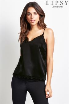 Lipsy Black Lace Cami Top