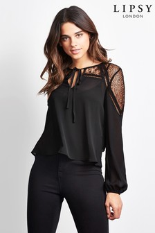 Lipsy Lace Long Sleeve Blouse