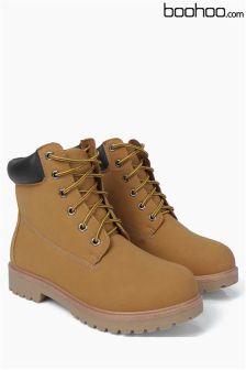 Boohoo Tan Hiker Boots