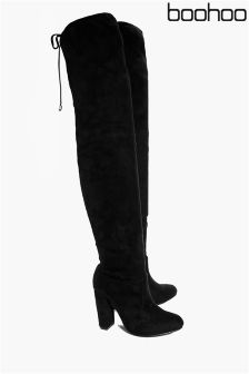Boohoo Pointed Tie Thigh High Boots