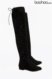 Boohoo Flat Tie Back Over The Knee Boots