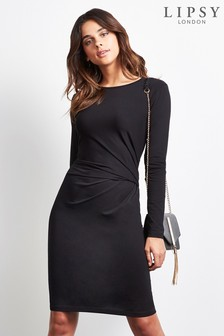 Lipsy Long Sleeve Knot Detail Dress