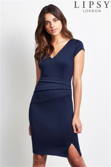 Lipsy Cap Sleeve Pleated Bodycon Dress