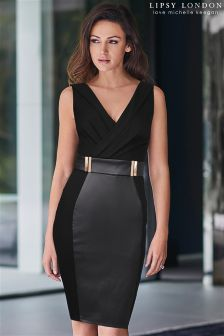 Lipsy Love Michelle Keegan Petite PU Panelled Bodycon Dress