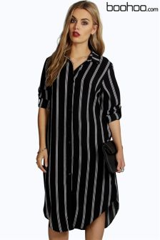 Boohoo Plus Striped Shirt Dress