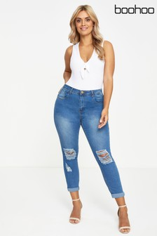 Boohoo Plus Ripped Skinny Jeans