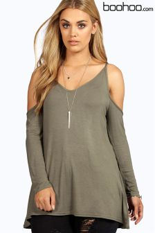 Boohoo Plus Open Shoulder Swing Top