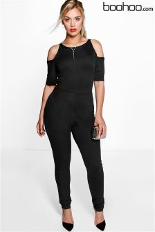 Boohoo Plus Open Shoulder Jumpsuit