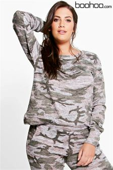 Boohoo Plus Camo Lounge Sweater