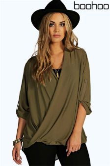 Boohoo Plus Wrap Front Blouse