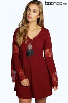 Boohoo Plus Flute Sleeve Lace Dress