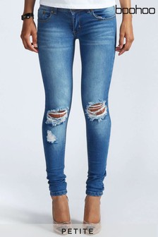 Boohoo Petite Low Rise Distressed Rip Knee Skinny Jeans