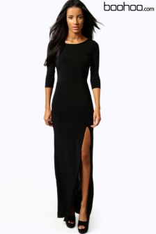 Boohoo Petite Side Split Slinky Maxi Dress