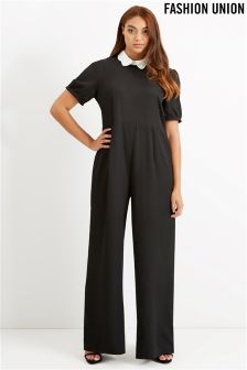 Fashion Union Curve Contrast Collar Jumpsuit
