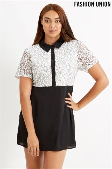 Fashion Union Curve Contrast Lace Dress