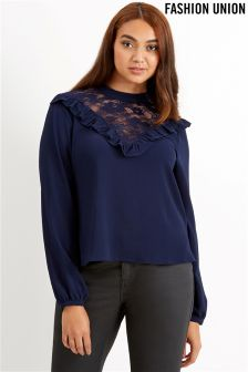 Fashion Union Curve Lace Insert Blouse
