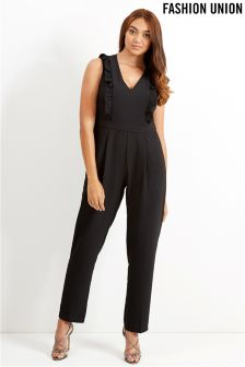 Fashion Union Curve Frill Detail Jumpsuit
