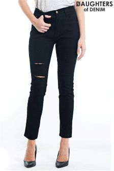 Daughters Of Denim Ripped Knee Skinny Jeans