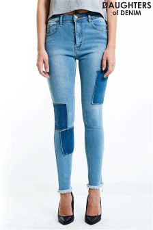 Daughters Of Denim Patchwork Skinny Jeans
