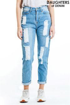 Daughters Of Denim Distressed Boyfriend Jeans