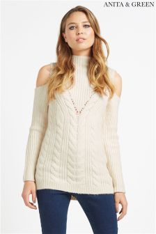 Anita & Green Cold Shoulder Jumper
