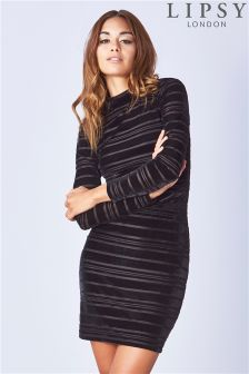 Lipsy Long Sleeve Velvet Ribbed Bodycon Dress