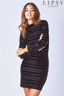 Lipsy Long Sleeve Velvet Ribbed Bodycon Dress