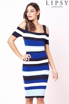 Lipsy Stripe Cold Shoulder Dress