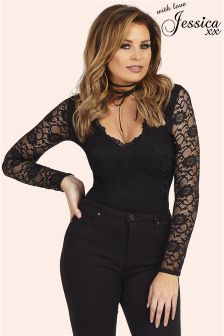 Jessica Wright Long Sleeve Lace Bodysuit