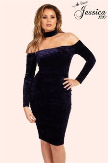 Jessica Wright Velvet Choker Bodycon Dress