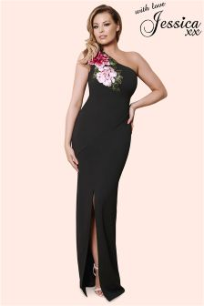 Jessica Wright Shoulder Embroidered Maxi Dress