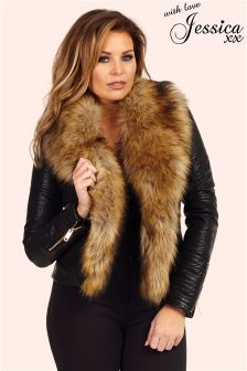 Jessica Wright Fur Collar Biker Jacket
