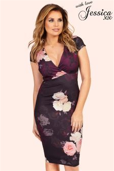 Jessica Wright Floral Print Short Sleeve Dress