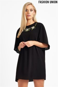 Fashion Union Curve Embroidered Shirt Dress