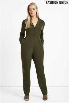 Fashion Union Curve Military Jumpsuit