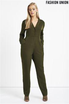 Fashion Union Curve Military Jumpsuit