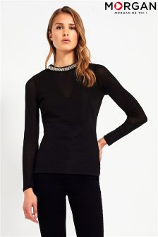 Morgan Mesh V neck Top