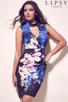 Lipsy Printed Scuba Wrap Bodycon Dress