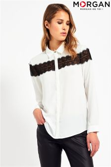 Morgan 2 Tone Lace Insert Blouse