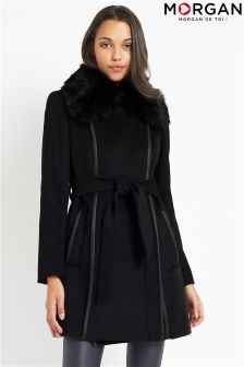 Morgan Faux Leather Faux Fur Collar Coat