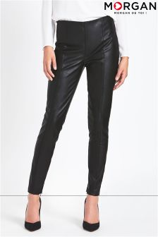 Morgan Faux Leather Zip Side Skinny Trousers