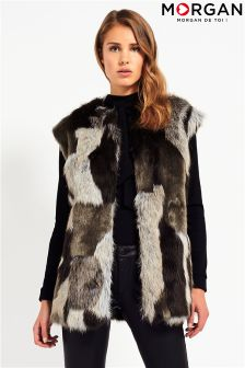 Morgan Patchwork Sleeveless Faux Fur Gilet