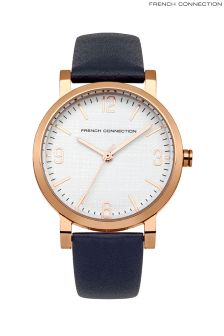 French Connection Leather Strap Watch
