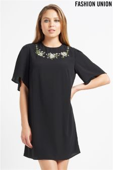 Fashion Union Classic Embroidered Shirts Dress