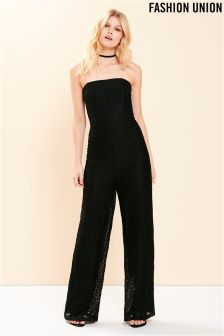 Fashion Union Lace Bandeau Jumpsuit