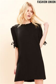 Fashion Union Tie Detail Shirt Dress