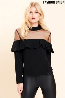 Fashion Union Off The Shoulder Mesh Insert Top